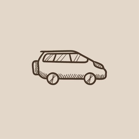 minivan: Minivan sketch icon for web, mobile and infographics. Hand drawn vector isolated icon.