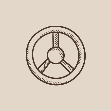 Steering wheel sketch icon for web, mobile and infographics. Hand drawn vector isolated icon.