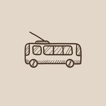 trolleybus: Trolleybus sketch icon for web, mobile and infographics. Hand drawn vector isolated icon. Illustration
