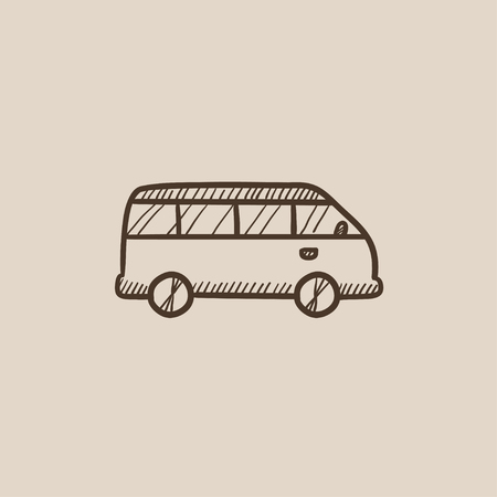 omnibus: Minibus sketch icon for web, mobile and infographics. Hand drawn vector isolated icon. Illustration