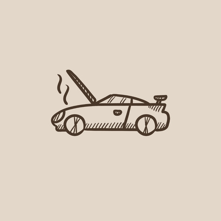 overheat: Broken car with open hood sketch icon for web, mobile and infographics. Hand drawn vector isolated icon.