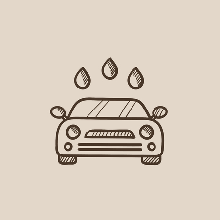 car wash: Car wash sketch icon for web, mobile and infographics. Hand drawn vector isolated icon.