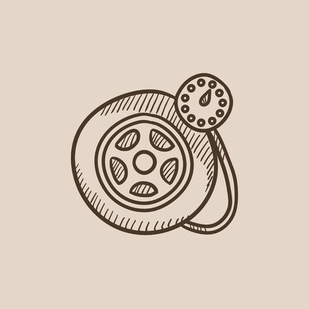pressure gauge: Pressure gauge tyre sketch icon for web, mobile and infographics. Hand drawn vector isolated icon. Illustration