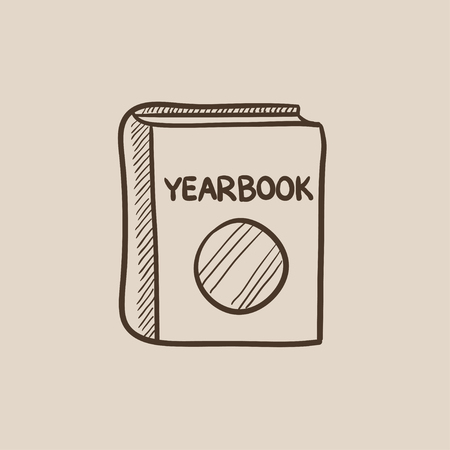 yearbook: Yearbook sketch icon for web, mobile and infographics. Hand drawn vector isolated icon.