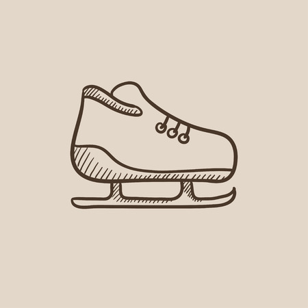 Skate sketch icon for web, mobile and infographics. Hand drawn vector isolated icon.