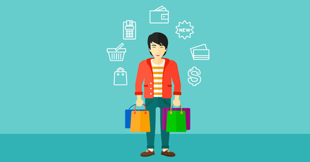 man holding sign: An asian man with bags and some shopping icons around him on a blue background vector flat design illustration. Horizontal layout. Illustration