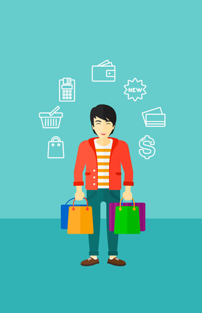 An asian man with bags and some shopping icons around him on a blue background vector flat design illustration. Vertical layout. Illustration