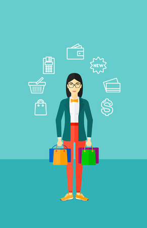 An asian woman with bags and some shopping icons around her on a blue background vector flat design illustration. Vertical layout.