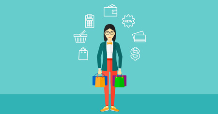 An asian woman with bags and some shopping icons around her on a blue background vector flat design illustration. Horizontal layout. Illustration