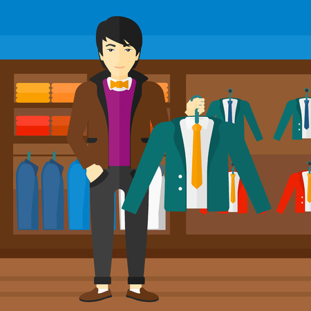 choosing clothes: An asian man holding a hanger with a jacket on the background of clothes store vector flat design illustration. Square layout.