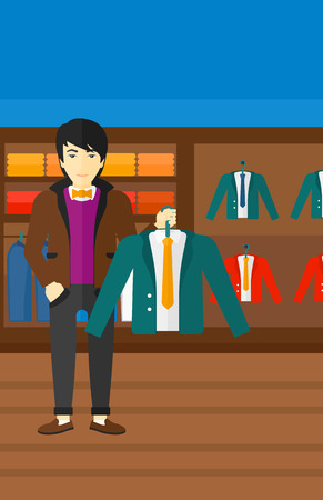 choosing clothes: An asian man holding a hanger with a jacket on the background of clothes store vector flat design illustration. Vertical layout.