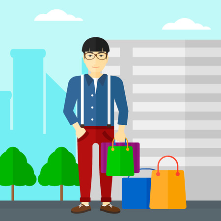 An asian man standing with some shopping bags in hand and some bags on the ground on a city background vector flat design illustration. Square layout.