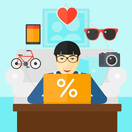 asian man laptop: An asian man sitting in front of laptop with some icons of goods around him on the background of living room vector flat design illustration. Square layout.
