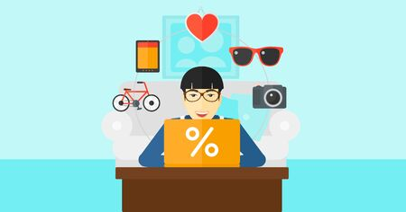 asian man laptop: An asian man sitting in front of laptop with some icons of goods around him on the background of living room vector flat design illustration. Horizontal layout.