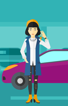 An asian woman holding keys from her new car on the background of car shop vector flat design illustration. Vertical layout.
