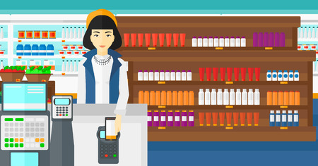 smart phone woman: An asian woman paying with his smartphone using terminal on the background of supermarket shelves with products vector flat design illustration. Horizontal layout.