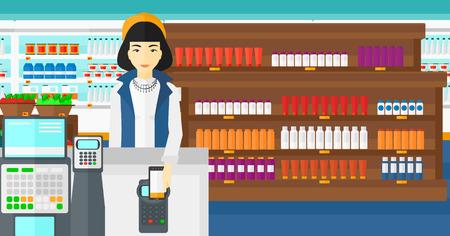 mujer en el supermercado: Una mujer asiática que pagar con su teléfono inteligente con el terminal en el fondo de los estantes del supermercado con productos vector Ilustración diseño plano. disposición horizontal.
