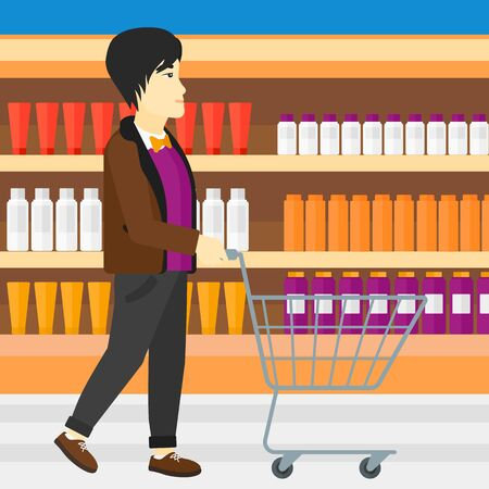 toiletry: An asian man pushing an empty supermarket cart on the background of shelves with toiletry in supermarket vector flat design illustration. Square layout.
