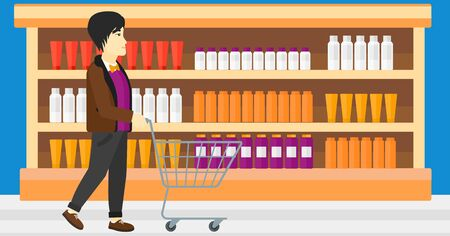 toiletry: An asian man pushing an empty supermarket cart on the background of shelves with toiletry in supermarket vector flat design illustration. Horizontal layout. Illustration