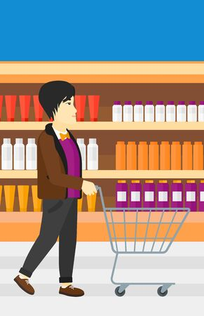 toiletry: An asian man pushing an empty supermarket cart on the background of shelves with toiletry in supermarket vector flat design illustration. Vertical layout.