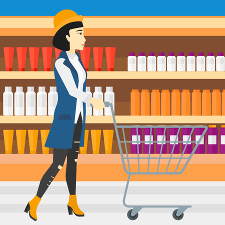 toiletry: An asian woman pushing an empty supermarket cart on the background of shelves with toiletry in supermarket vector flat design illustration. Square layout.