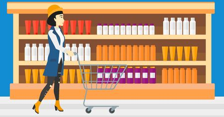 toiletry: An asian woman pushing an empty supermarket cart on the background of shelves with toiletry in supermarket vector flat design illustration. Horizontal layout.