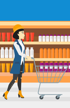 toiletry: An asian woman pushing an empty supermarket cart on the background of shelves with toiletry in supermarket vector flat design illustration. Vertical layout.