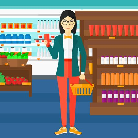 An asian woman holding a shopping basket in one hand and a tube of cream in another on the background of supermarket shelves with products vector flat design illustration. Square layout.