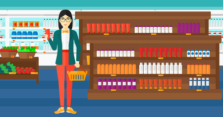 An asian woman holding a shopping basket in one hand and a tube of cream in another on the background of supermarket shelves with products vector flat design illustration. Horizontal layout.