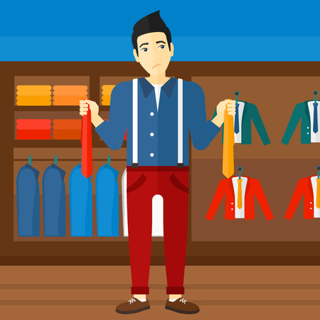 choosing clothes: An asian man holding two different neckties and trying to choose the best one  on the background of clothes store vector flat design illustration. Square layout.