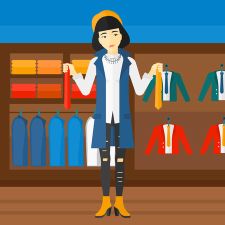 choosing clothes: An asian woman holding two different neckties and trying to choose the best one  on the background of clothes store vector flat design illustration. Square layout.