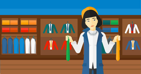 choosing clothes: An asian woman holding two different neckties and trying to choose the best one  on the background of clothes store vector flat design illustration. Horizontal layout.