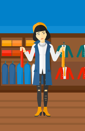 choosing clothes: An asian woman holding two different neckties and trying to choose the best one  on the background of clothes store vector flat design illustration. Vertical layout.