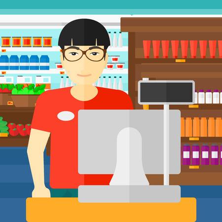 checkout: An asian salesman standing at checkout on the background of supermarket shelves with products vector flat design illustration. Square layout. Illustration