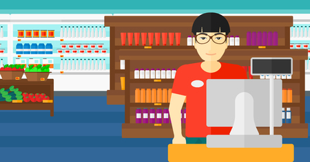 An asian salesman standing at checkout on the background of supermarket shelves with products vector flat design illustration. Horizontal layout.