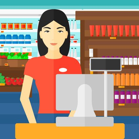 saleslady: An asian saleslady standing at checkout on the background of supermarket shelves with products vector flat design illustration. Square layout. Illustration