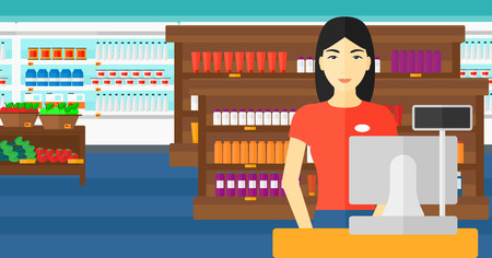 checkout: An asian saleslady standing at checkout on the background of supermarket shelves with products vector flat design illustration. Horizontal layout. Illustration