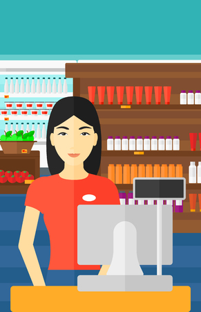 checkout: An asian saleslady standing at checkout on the background of supermarket shelves with products vector flat design illustration. Vertical layout.