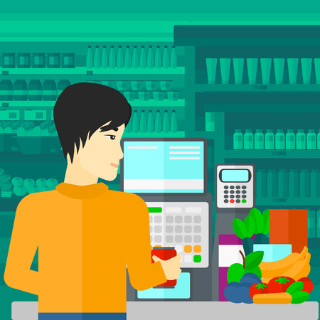 checkout counter: An asian cashier at supermarket counter with vegetables and fruits on the background of supermarket shelves with products vector flat design illustration. Square layout. Illustration