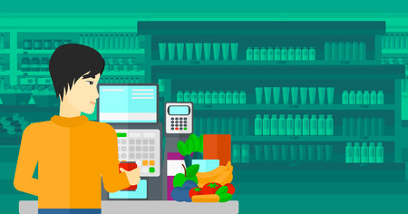 An asian cashier at supermarket counter with vegetables and fruits on the background of supermarket shelves with products vector flat design illustration. Horizontal layout. Ilustração
