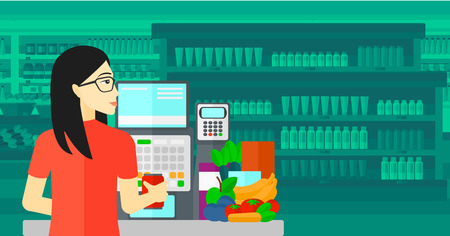An asian cashier at supermarket counter with vegetables and fruits on the background of supermarket shelves with products vector flat design illustration. Horizontal layout. Ilustracja