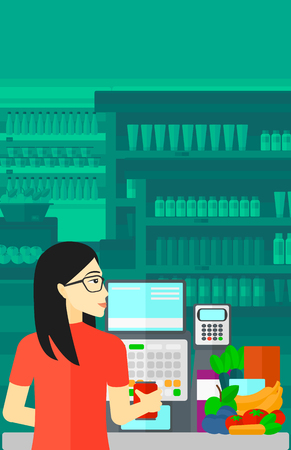 An asian cashier at supermarket counter with vegetables and fruits on the background of supermarket shelves with products vector flat design illustration. Vertical layout.