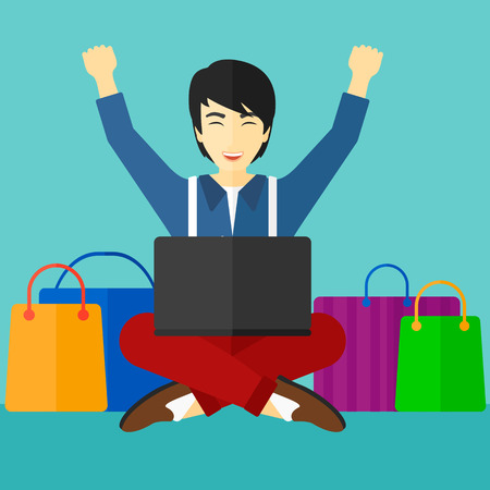 asian man laptop: An asian man sitting in front of laptop with hands up and some bags of goods nearby on a blue background vector flat design illustration. Square layout.