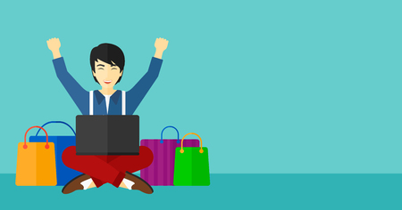 asian man laptop: An asian man sitting in front of laptop with hands up and some bags of goods nearby on a blue background vector flat design illustration. Horizontal layout.