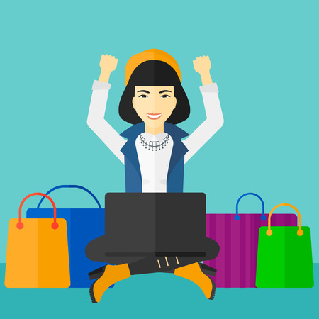 An asian woman sitting in front of laptop with hands up and some bags of goods nearby on a blue background vector flat design illustration. Square layout.