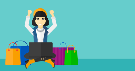 An asian woman sitting in front of laptop with hands up and some bags of goods nearby on a blue background vector flat design illustration. Horizontal layout.