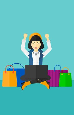 An asian woman sitting in front of laptop with hands up and some bags of goods nearby on a blue background vector flat design illustration. Vertical layout. Illustration