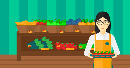An asian woman holding a box with apples on the background of shelves with vegetables and fruits in supermarket vector flat design illustration. Horizontal layout.