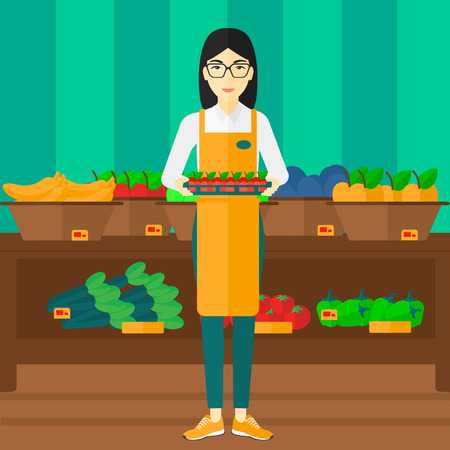 An asian woman holding a box with apples on the background of shelves with vegetables and fruits in supermarket vector flat design illustration. Square layout.