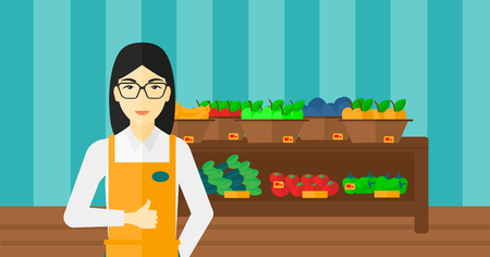 An asian supermarket worker showing thumb up on the background of shelves with vegetables and fruits in supermarket vector flat design illustration. Horizontal layout. 向量圖像